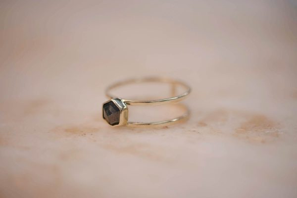 Double Ring with Grey Rose Cut Hexagon Diamond - 14k Gold 2