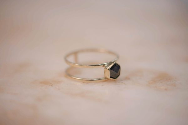 Double Ring with Grey Rose Cut Hexagon Diamond - 14k Gold 3