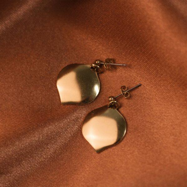 Morrocan Earrings on Rust Colored Silk - Brass 2