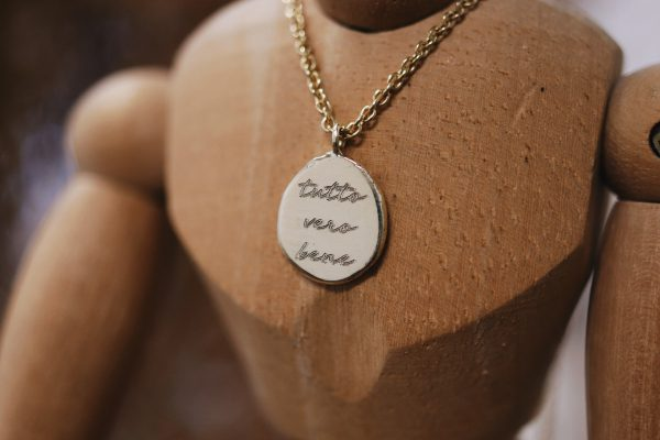 Engraving Necklace with Organic Pendent 14k Gold