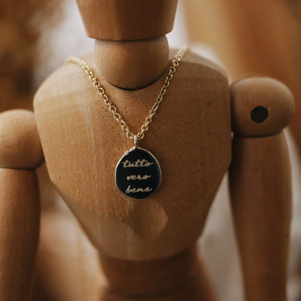 Engraving Necklace with Organic Pendent 14k Gold 2