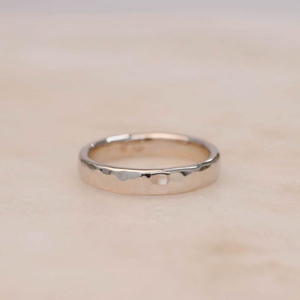 4 mm White Gold Rounded Hammered Men's Band in Shiny Finish