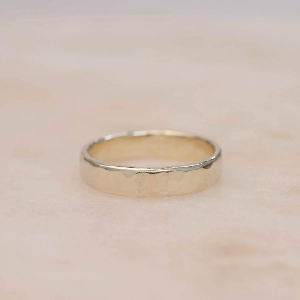 4 mm Yellow Gold Men's Band Hammered Organically in Shiny Satin Finish