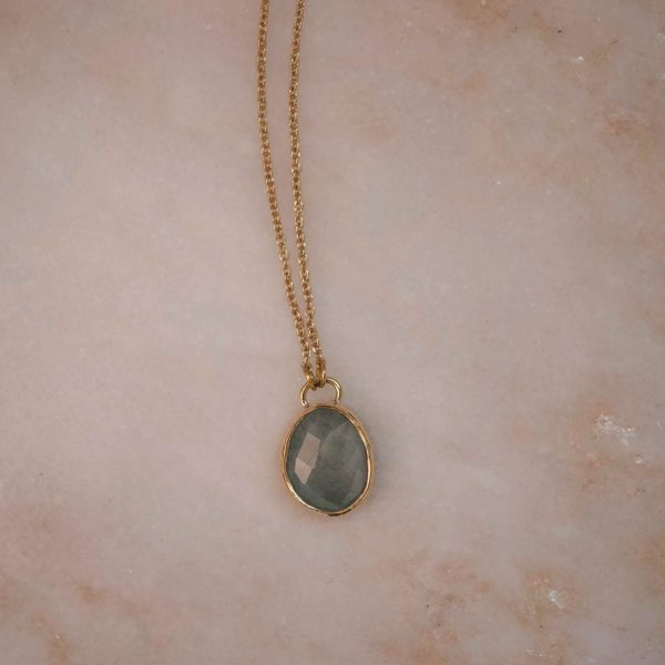Aquamarine Gemstone Necklace - Brass 1