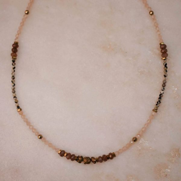 Beaded-Necklace-Peach-Moonstone Brass and Silver