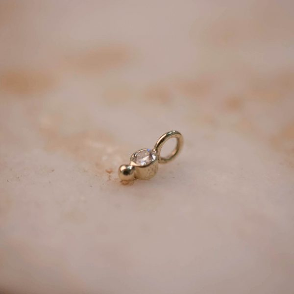 Charm Moissanite and Dot - 14k Gold 1