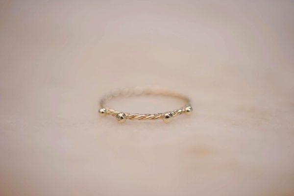 Fine Twist Ring with Dots - 14k Gold