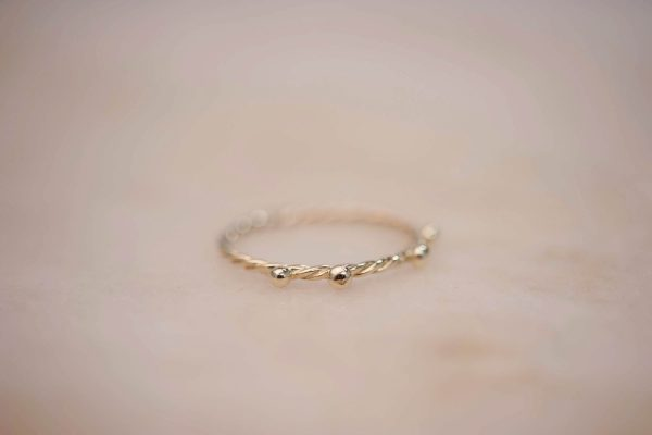 Fine Twist Ring with Dots - 14k Gold 2