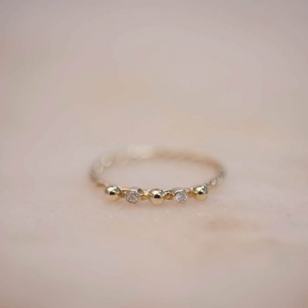 Fine Twist Ring with Dots and Moissanite - 14k Gold