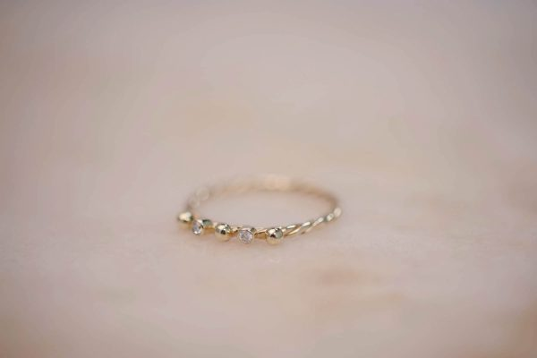 Fine Twist Ring with Dots and Moissanite - 14k Gold 2