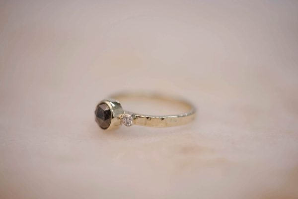 Hammered Ring with Rustic-Diamond-and-Double Diamond Accent 14k Gold 2