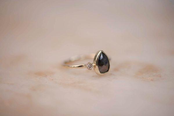Ring with Brown Rustic Teardrop Diamond 3
