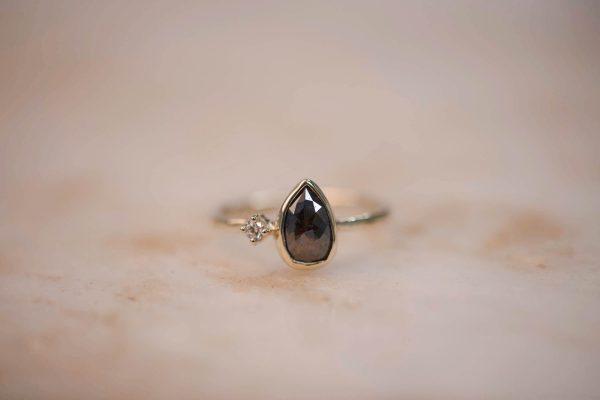 Ring with Brown Rustic Teardrop Diamond