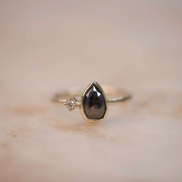 Ring with Brown Rustic Teardrop Diamond