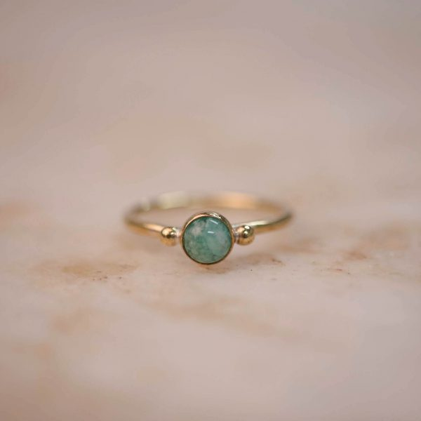 Ring with Dots & Amazonite 5 mm - Brass & Silver 1