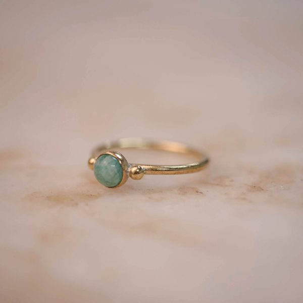 Ring with Dots & Amazonite 5 mm - Brass & Silver 2