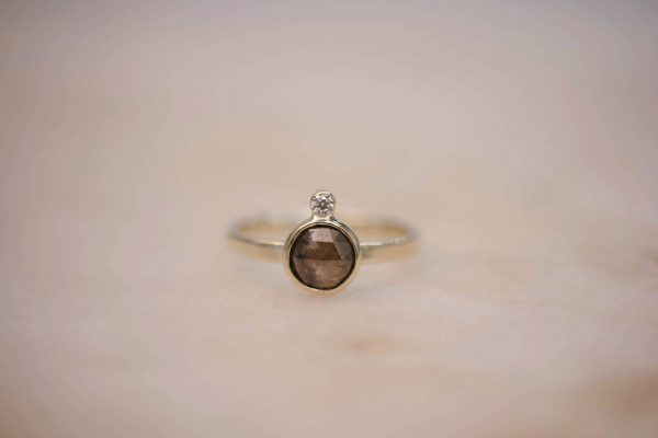 Ring with Rustic Diamond and Diamond Accent - 14k Gold 1