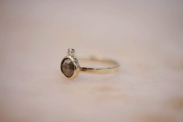 Ring with Rustic Diamond and Diamond Accent - 14k Gold 2
