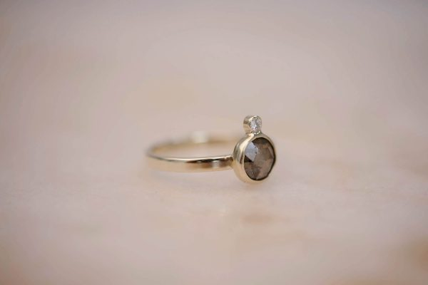 Ring with Rustic Diamond and Diamond Accent - 14k Gold 3