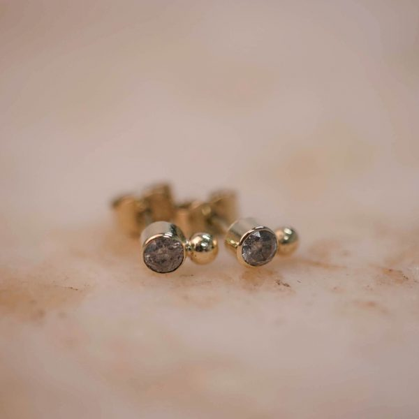 Rustic Diamond Dot Earring - 14k Gold 2