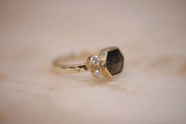 Hammered Ring with Rustic Brown Hexagon Diamond & Diamond Accents – 14k Gold 2