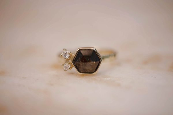 Hammered Ring with Rustic Brown Hexagon Diamond & Diamond Accents – 14k Gold