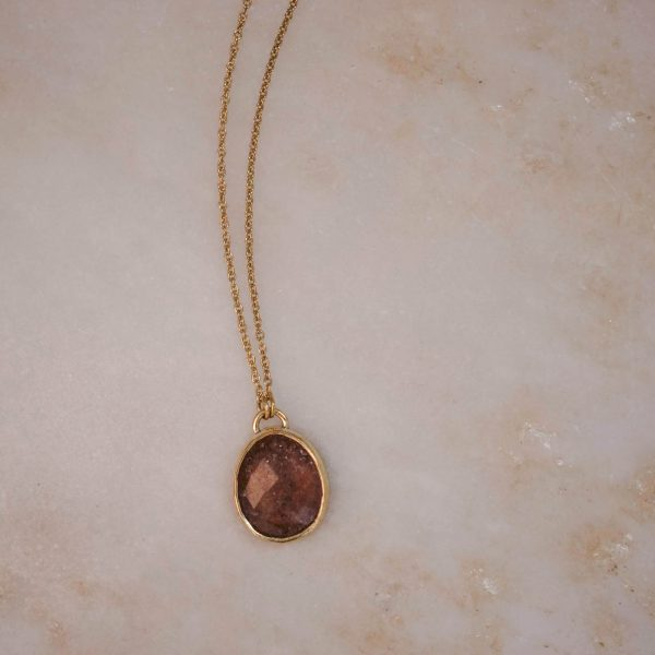 Strawberry Quartz Gemstone Necklace - Brass 5