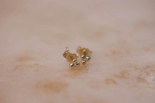Triple Dot Earring - 14k Gold 1