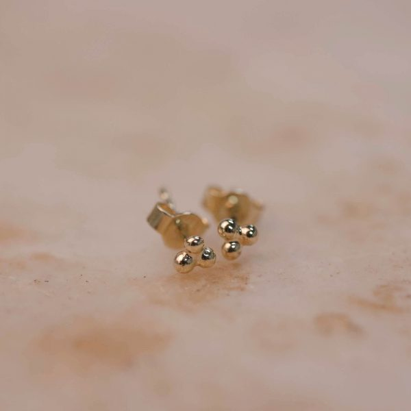 Triple Dot Earring - 14k Gold 1