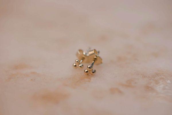 Triple Dot Earring - 14k Gold 2