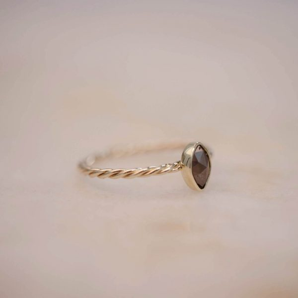 Twist Ring with Marquise Diamond - 14k Gold 2