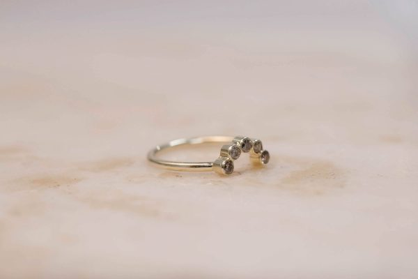 Curve Ring with Brilliant Cut Rustic Diamond - 14k Gold 3
