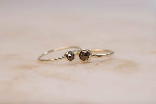 Rustic Diamond Ring 4 mm and 5.5 mm - 14k Gold