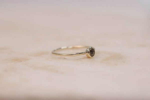 Rustic Diamond Ring 4 mm - 14k Gold 3