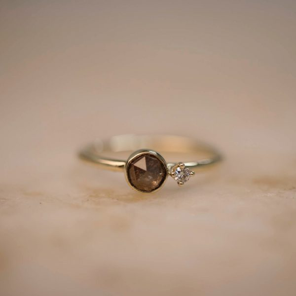 Ring with Rustic Diamond and Diamond Accent – 14k Gold 1Ring with Brown Rustic Teardrop Diamond and Diamond Accent – 14k Gold 1