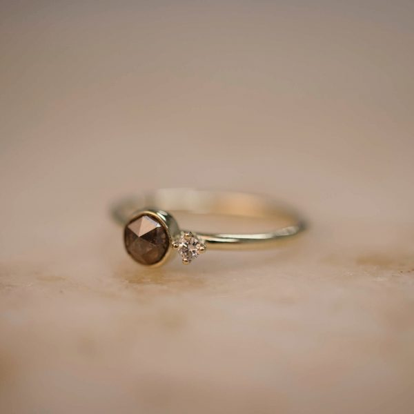 Ring with Rustic Diamond and Diamond Accent – 14k Gold 1Ring with Brown Rustic Teardrop Diamond and Diamond Accent – 14k Gold 2