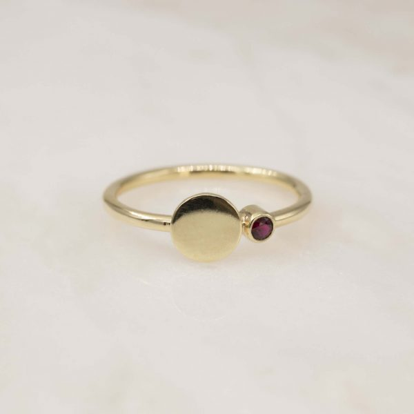 14k gold disc ring with birthstone
