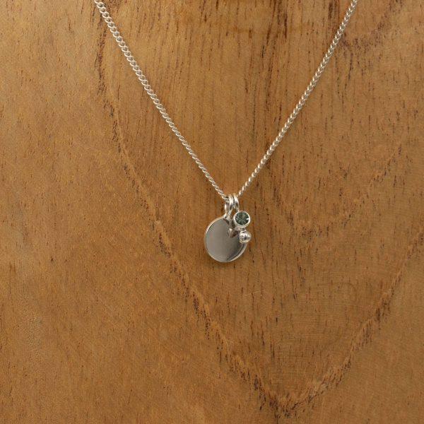 zilveren ketting met geboortesteen en graveerplaatje - bobini roots