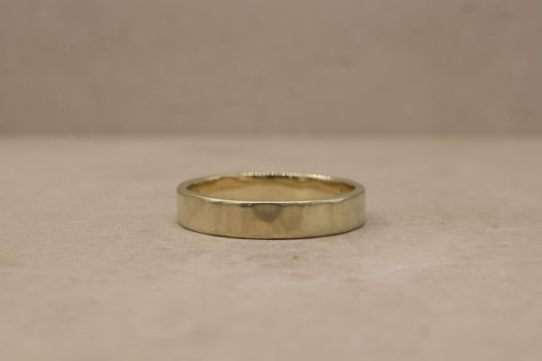 3.5 mm Organically Hammered Wedding Band in 14k Yellow Gold